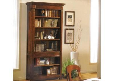 Libreria a giorno in ciliegio con un cassetto
